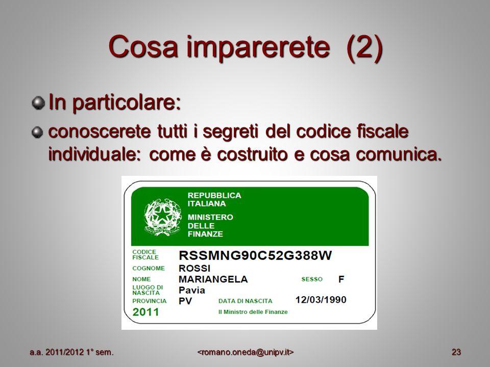 Cosa imparerete (2) In particolare: conoscerete tutti i segreti del codice fiscale individuale: come è costruito e cosa comunica. 23a.a. 2011/2012 1°