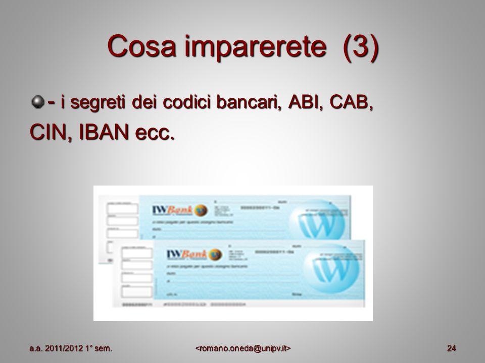 Cosa imparerete (3) - i segreti dei codici bancari, ABI, CAB, CIN, IBAN ecc. 24a.a. 2011/2012 1° sem.