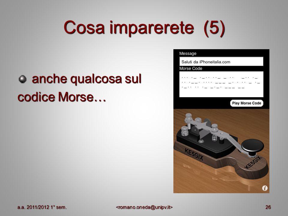 Cosa imparerete (5) anche qualcosa sul anche qualcosa sul codice Morse… 26a.a. 2011/2012 1° sem.