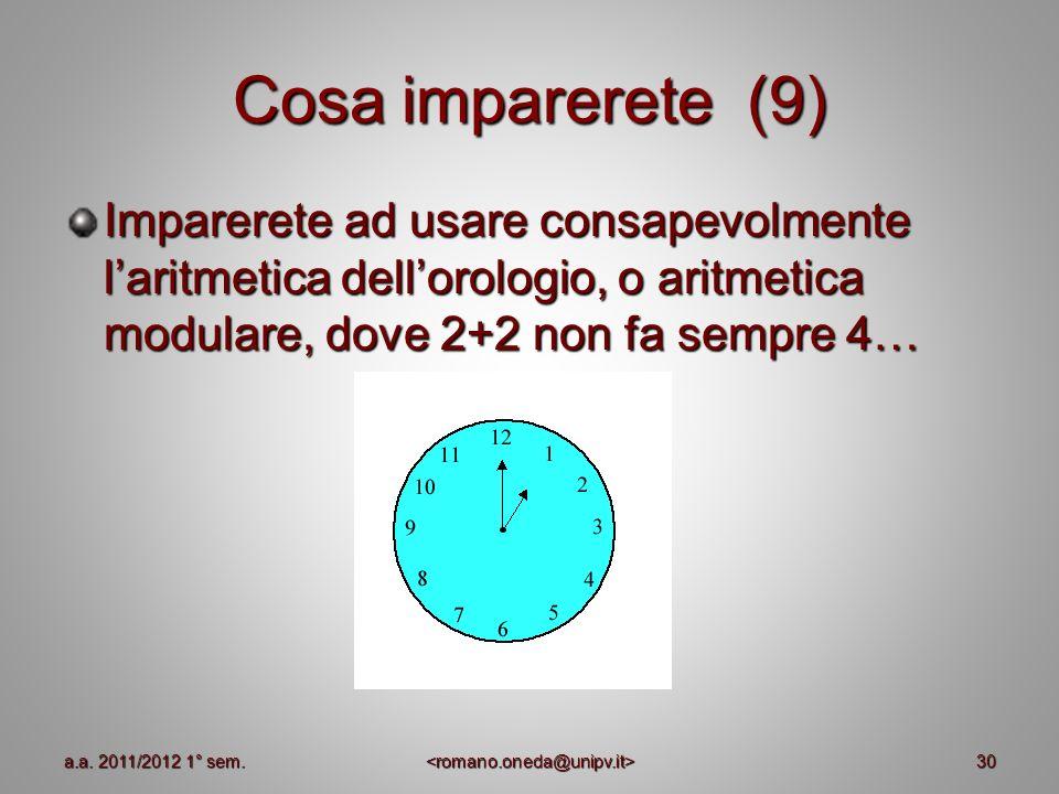 Cosa imparerete (9) Imparerete ad usare consapevolmente laritmetica dellorologio, o aritmetica modulare, dove 2+2 non fa sempre 4… 30a.a. 2011/2012 1°