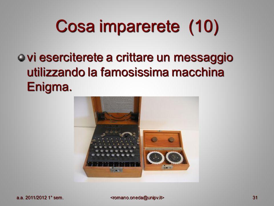 Cosa imparerete (10) vi eserciterete a crittare un messaggio utilizzando la famosissima macchina Enigma. 31a.a. 2011/2012 1° sem.