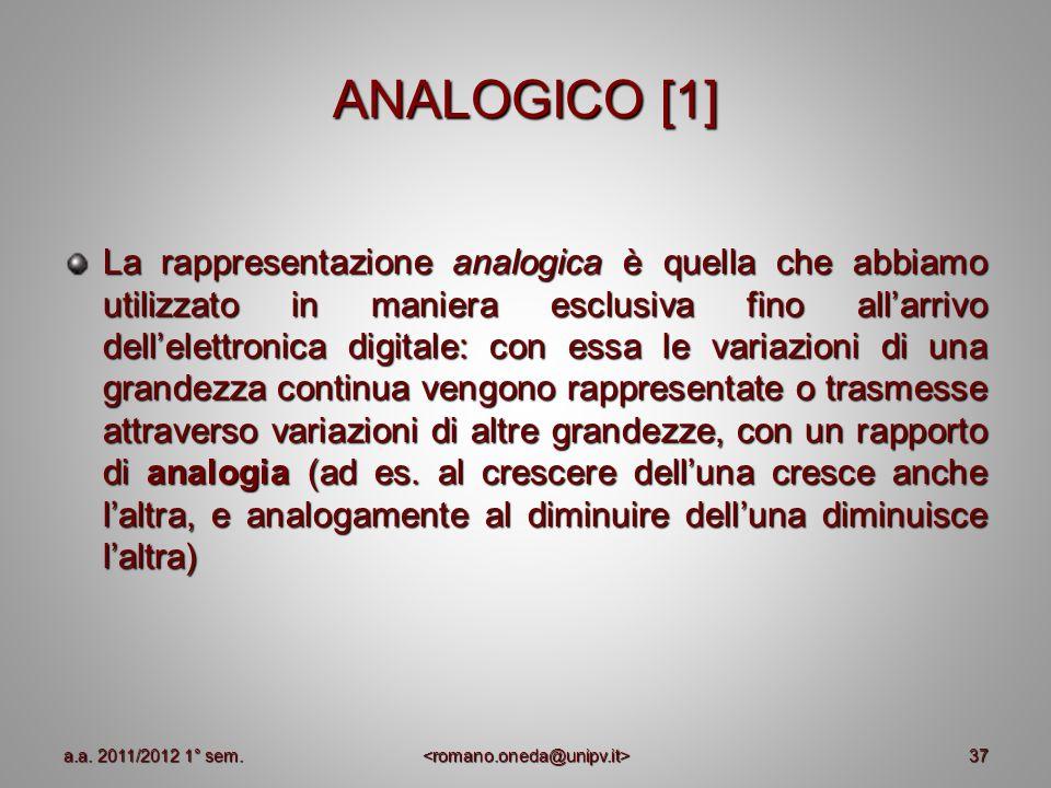 37 ANALOGICO [1] La rappresentazione analogica è quella che abbiamo utilizzato in maniera esclusiva fino allarrivo dellelettronica digitale: con essa