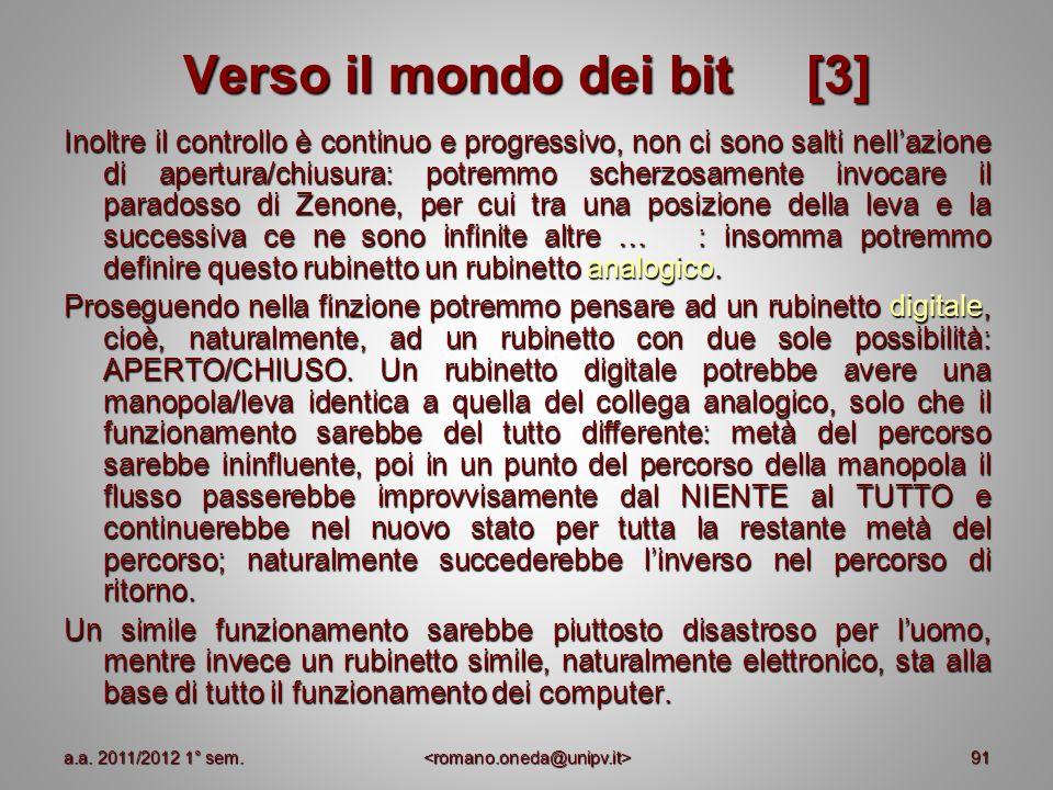 91 Verso il mondo dei bit [3] Inoltre il controllo è continuo e progressivo, non ci sono salti nellazione di apertura/chiusura: potremmo scherzosament