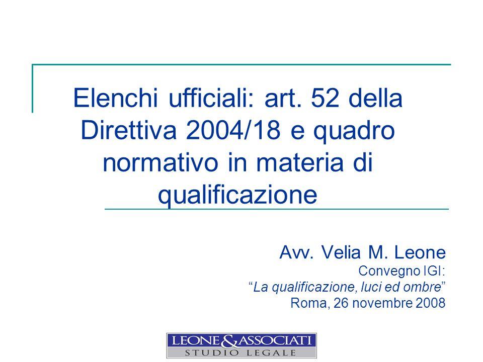 Avv. Velia M. Leone Convegno IGI: La qualificazione, luci ed ombre Roma, 26 novembre 2008 Elenchi ufficiali: art. 52 della Direttiva 2004/18 e quadro