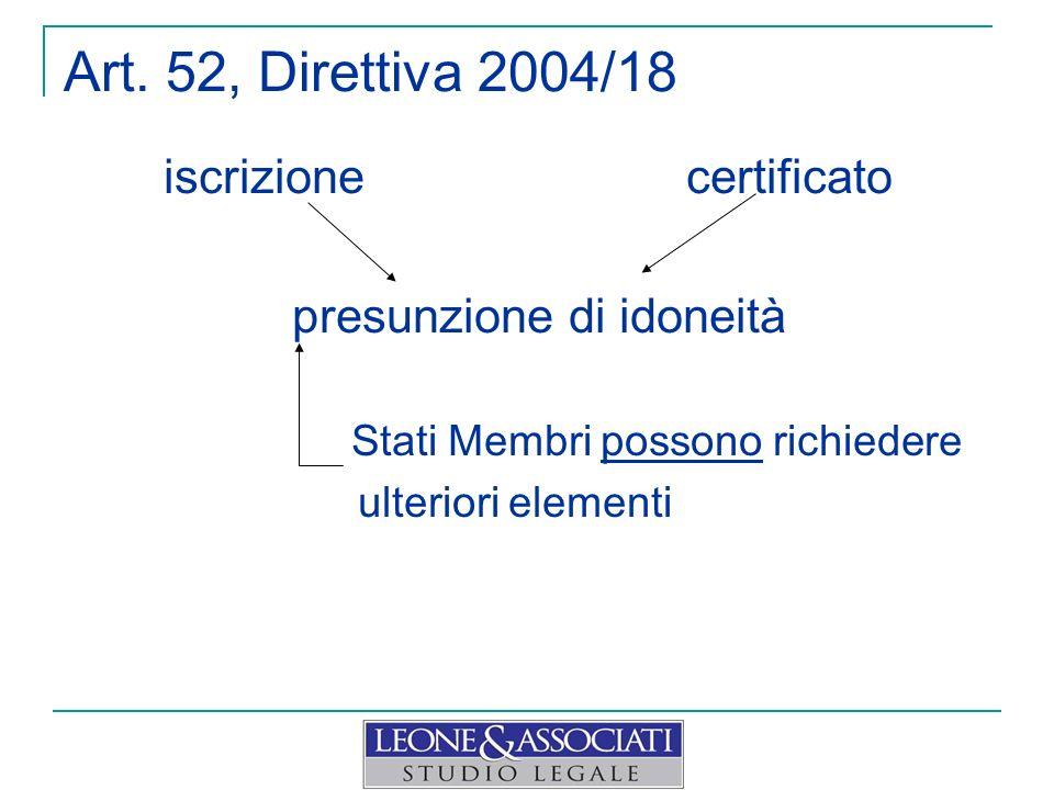 Art. 52, Direttiva 2004/18 iscrizione certificato presunzione di idoneità Stati Membri possono richiedere ulteriori elementi