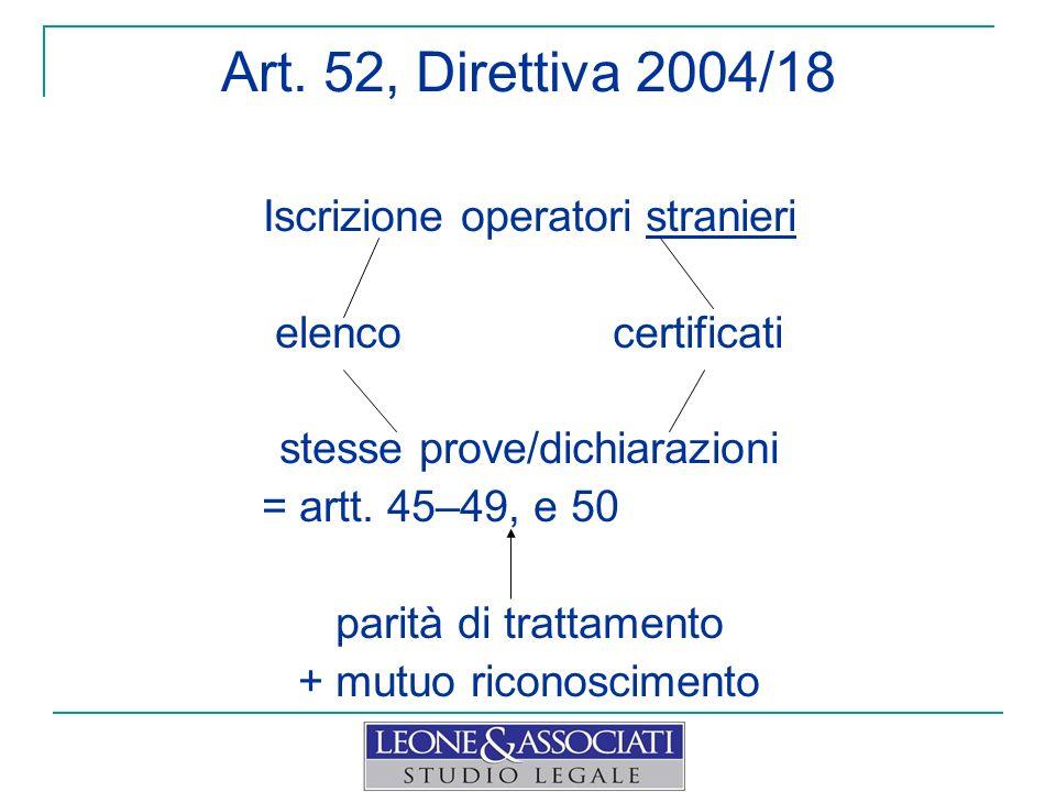Art. 52, Direttiva 2004/18 Iscrizione operatori stranieri elenco certificati stesse prove/dichiarazioni = artt. 45–49, e 50 parità di trattamento + mu