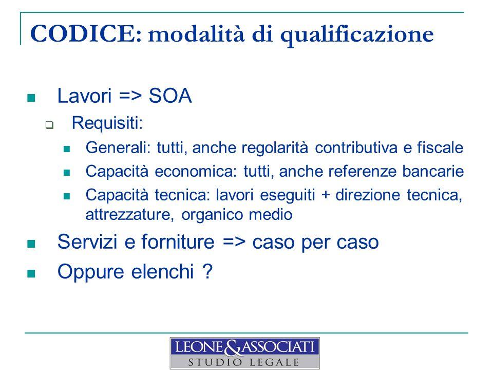 CODICE: modalità di qualificazione Lavori => SOA Requisiti: Generali: tutti, anche regolarità contributiva e fiscale Capacità economica: tutti, anche