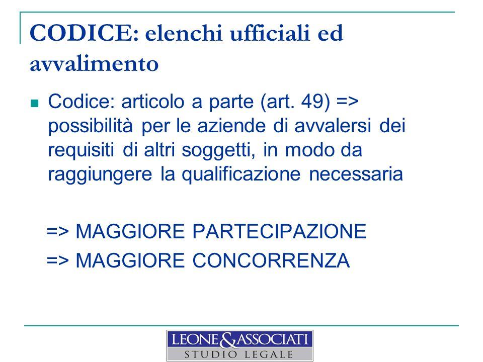 CODICE: elenchi ufficiali ed avvalimento Codice: articolo a parte (art. 49) => possibilità per le aziende di avvalersi dei requisiti di altri soggetti