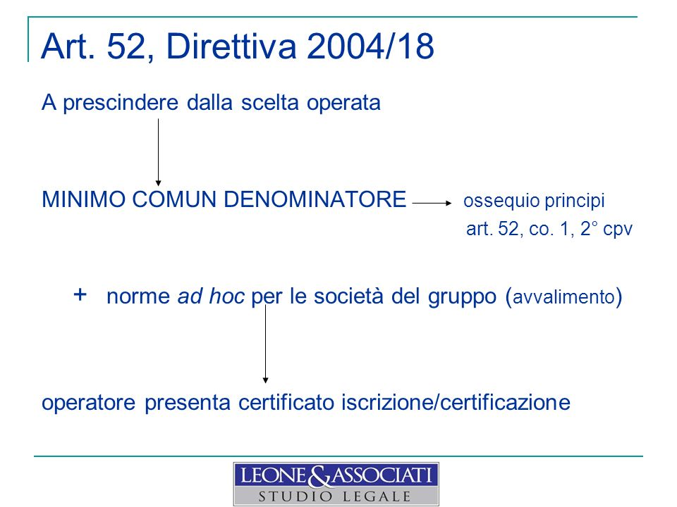 Art. 52, Direttiva 2004/18 A prescindere dalla scelta operata MINIMO COMUN DENOMINATORE ossequio principi art. 52, co. 1, 2° cpv + norme ad hoc per le