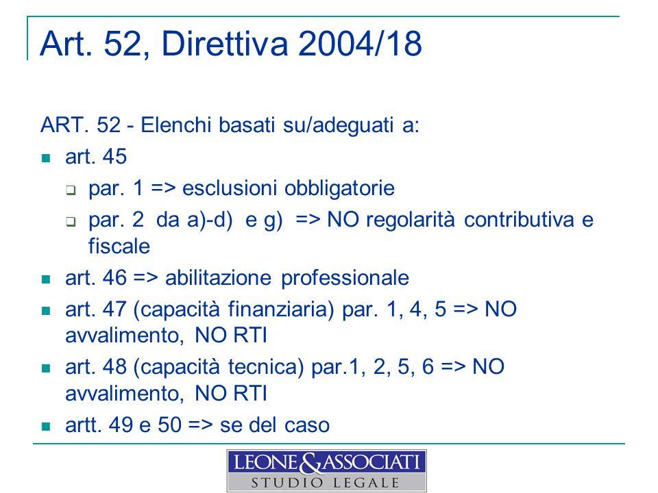Art. 52, Direttiva 2004/18 ART. 52 - Elenchi basati su/adeguati a: art. 45 par. 1 => esclusioni obbligatorie par. 2 da a)-d) e g) => NO regolarità con