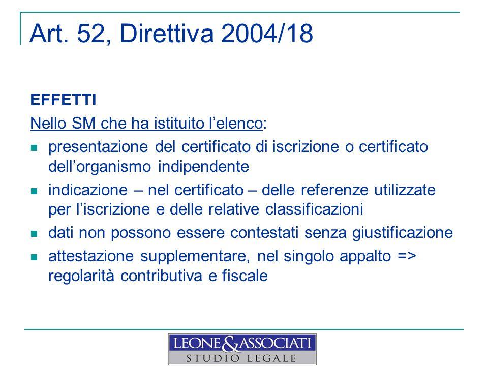 Art. 52, Direttiva 2004/18 EFFETTI Nello SM che ha istituito lelenco: presentazione del certificato di iscrizione o certificato dellorganismo indipend