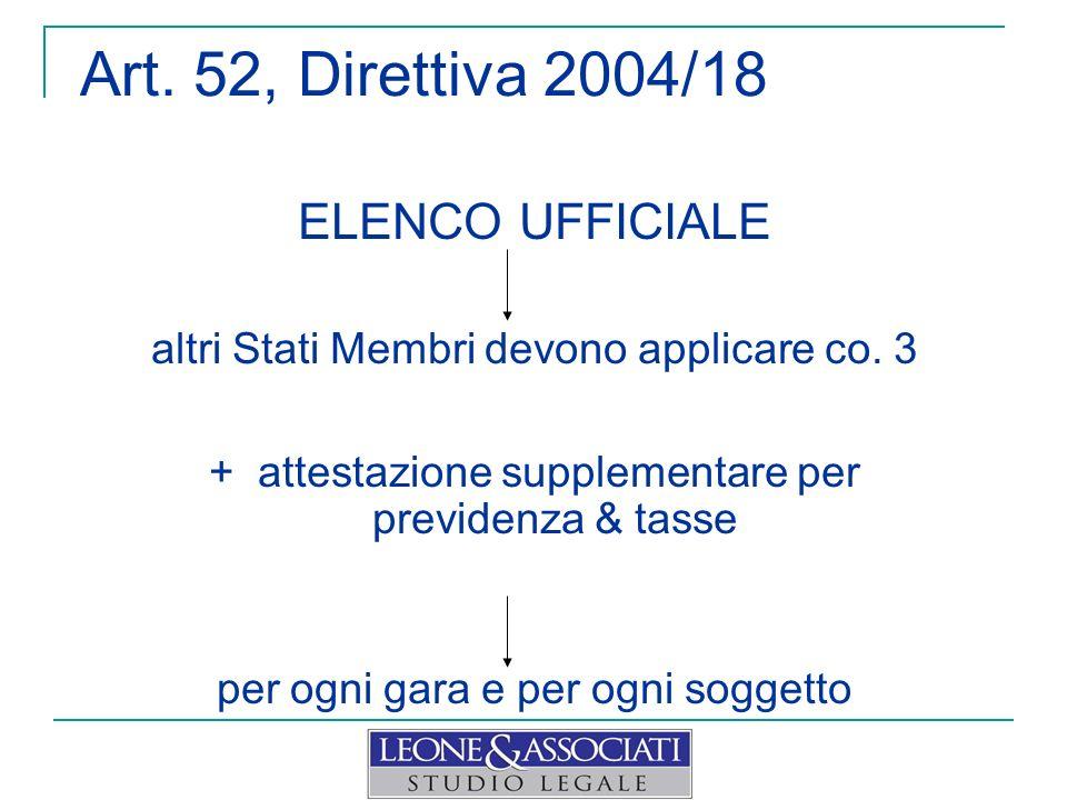 Art. 52, Direttiva 2004/18 ELENCO UFFICIALE altri Stati Membri devono applicare co. 3 + attestazione supplementare per previdenza & tasse per ogni gar
