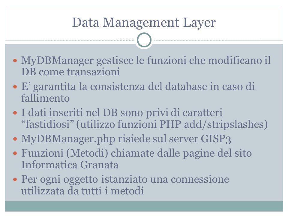 Data Management Layer MyDBManager gestisce le funzioni che modificano il DB come transazioni E garantita la consistenza del database in caso di fallimento I dati inseriti nel DB sono privi di caratteri fastidiosi (utilizzo funzioni PHP add/stripslashes) MyDBManager.php risiede sul server GISP3 Funzioni (Metodi) chiamate dalle pagine del sito Informatica Granata Per ogni oggetto istanziato una connessione utilizzata da tutti i metodi