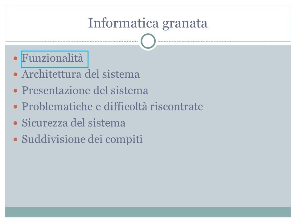 Informatica granata Funzionalità Architettura del sistema Presentazione del sistema Problematiche e difficoltà riscontrate Sicurezza del sistema Suddivisione dei compiti