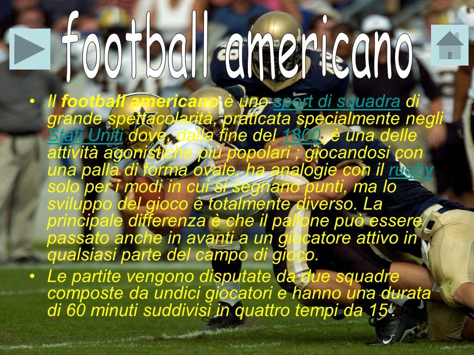 Il football americano è uno sport di squadra di grande spettacolarità, praticata specialmente negli Stati Uniti dove, dalla fine del 1800, è una delle