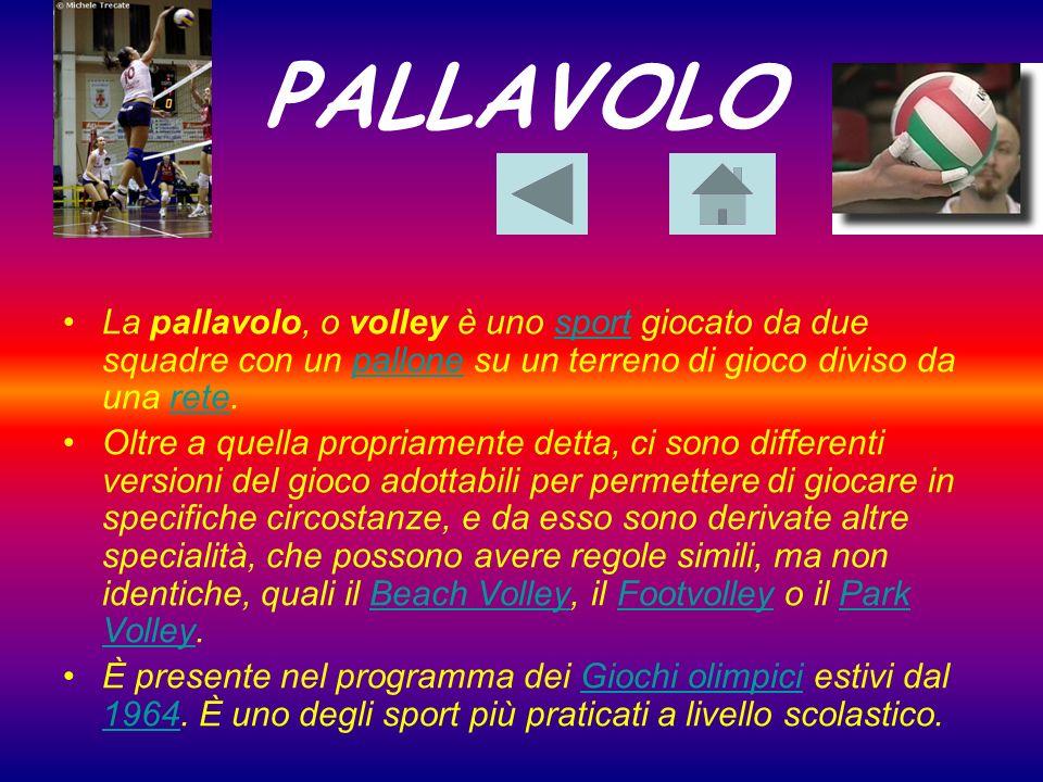 PALLAVOLO La pallavolo, o volley è uno sport giocato da due squadre con un pallone su un terreno di gioco diviso da una rete.sportpallonerete Oltre a