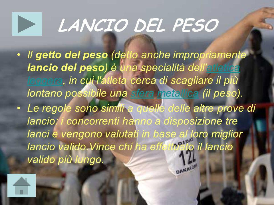 LANCIO DEL PESO Il getto del peso (detto anche impropriamente lancio del peso) è una specialità dell'atletica leggera, in cui l'atleta cerca di scagli