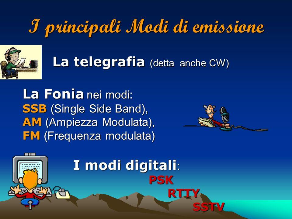I principali Modi di emissione La telegrafia (detta anche CW) La Fonia nei modi: SSB (Single Side Band), AM (Ampiezza Modulata), FM (Frequenza modulat