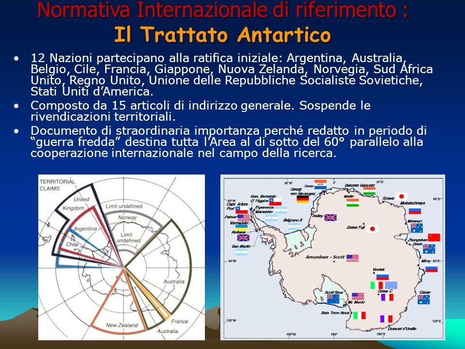 Normativa Internazionale di riferimento : Il Trattato Antartico 12 Nazioni partecipano alla ratifica iniziale: Argentina, Australia, Belgio, Cile, Fra