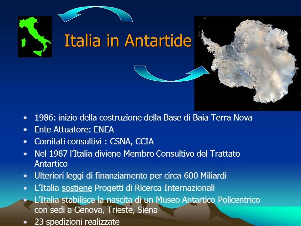 Italia in Antartide 1986: inizio della costruzione della Base di Baia Terra Nova Ente Attuatore: ENEA Comitati consultivi : CSNA, CCIA Nel 1987 lItali