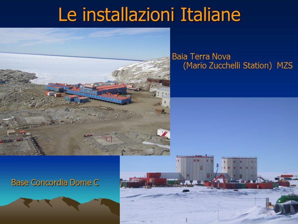 Le installazioni Italiane Baia Terra Nova (Mario Zucchelli Station) MZS Base Concordia Dome C