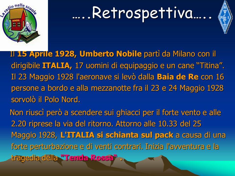 Il 15 Aprile 1928, Umberto Nobile partì da Milano con il dirigibile ITALIA, 17 uomini di equipaggio e un cane Titina. Il 23 Maggio 1928 l'aeronave si