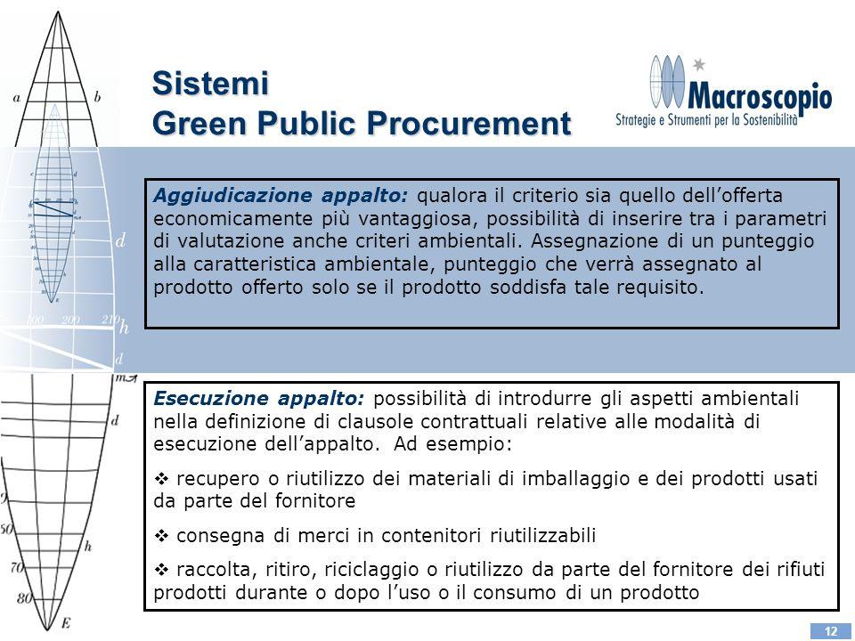 12 Aggiudicazione appalto: qualora il criterio sia quello dellofferta economicamente più vantaggiosa, possibilità di inserire tra i parametri di valutazione anche criteri ambientali.