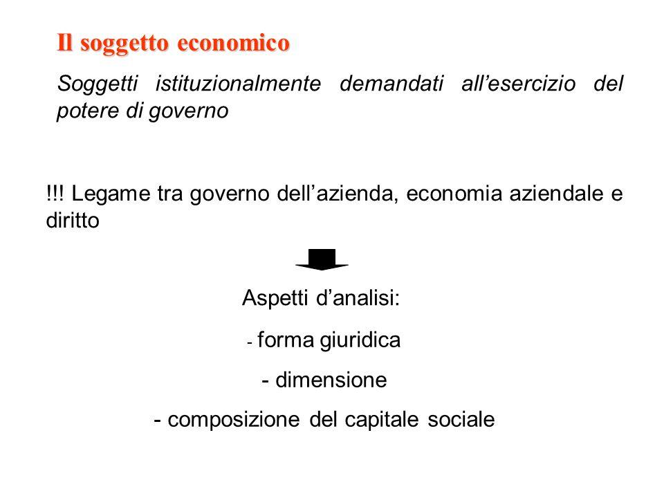 Il soggetto economico Soggetti istituzionalmente demandati allesercizio del potere di governo !!! Legame tra governo dellazienda, economia aziendale e