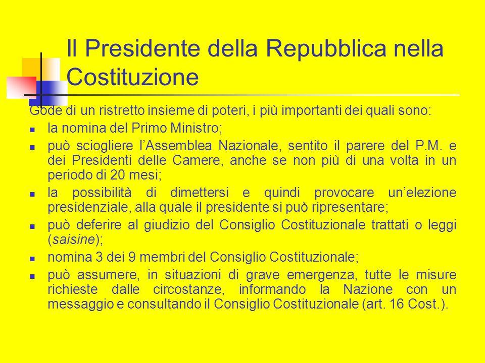 Il Presidente della Repubblica nella Costituzione Gode di un ristretto insieme di poteri, i più importanti dei quali sono: la nomina del Primo Ministr