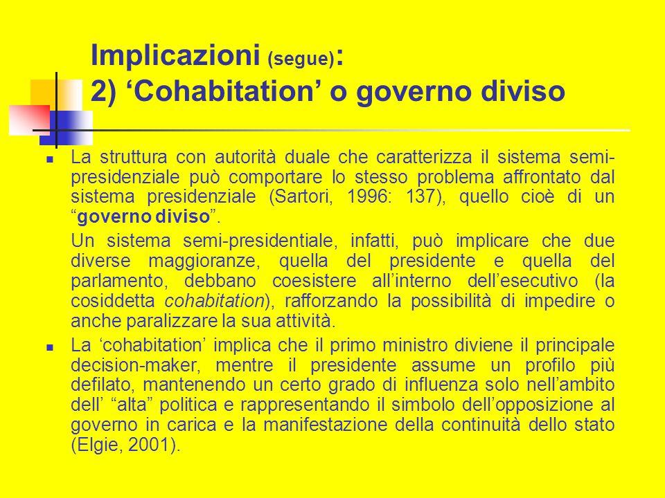 Implicazioni (segue) : 2) Cohabitation o governo diviso La struttura con autorità duale che caratterizza il sistema semi- presidenziale può comportare