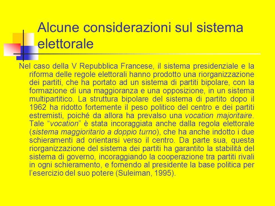 Alcune considerazioni sul sistema elettorale Nel caso della V Repubblica Francese, il sistema presidenziale e la riforma delle regole elettorali hanno