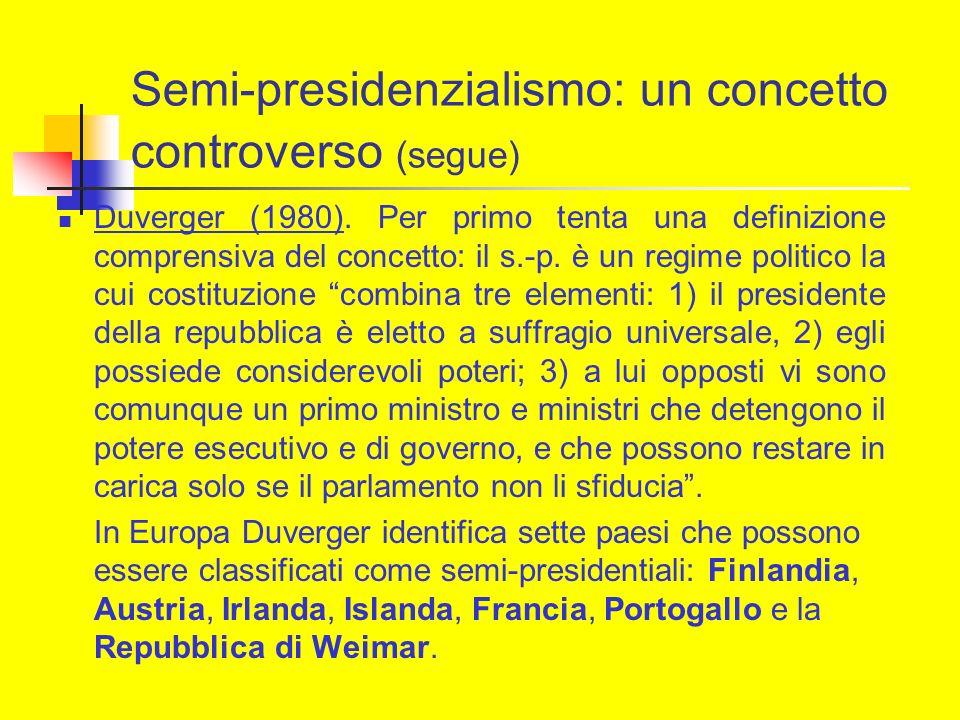 Semi-presidenzialismo: un concetto controverso (segue) Duverger (1980). Per primo tenta una definizione comprensiva del concetto: il s.-p. è un regime
