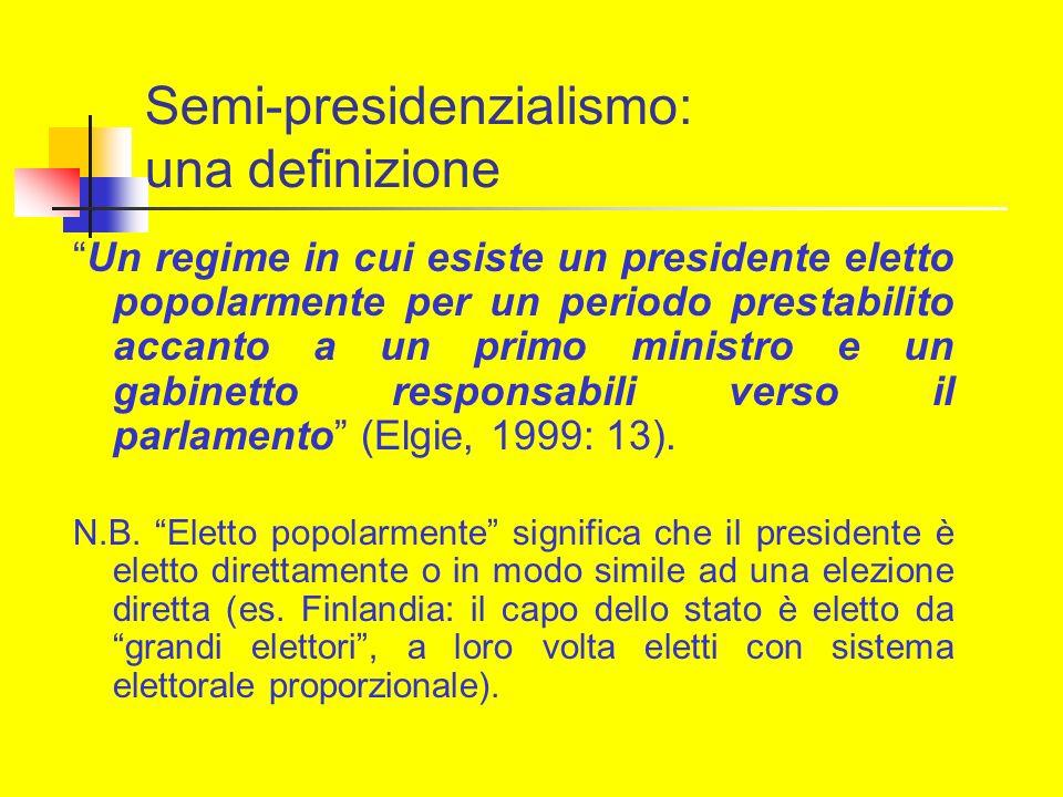 Semi-presidenzialismo: una definizione Un regime in cui esiste un presidente eletto popolarmente per un periodo prestabilito accanto a un primo minist