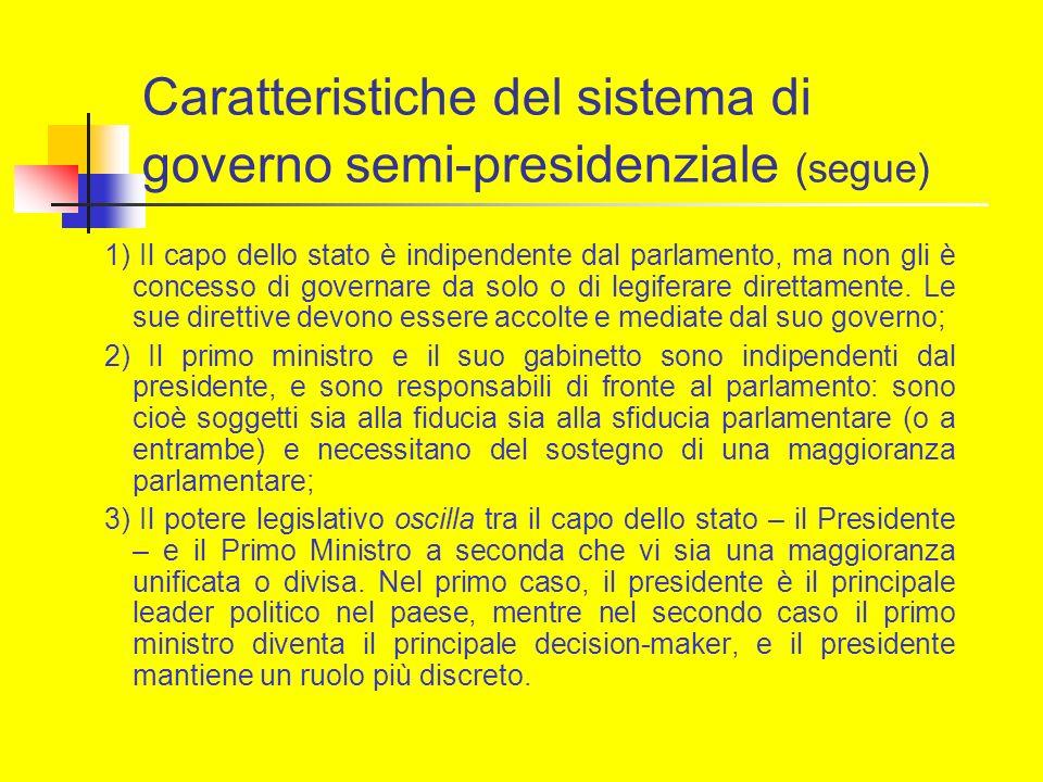 Caratteristiche del sistema di governo semi-presidenziale (segue) 1) Il capo dello stato è indipendente dal parlamento, ma non gli è concesso di gover