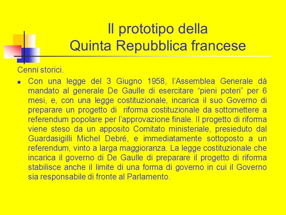 Il prototipo della Quinta Repubblica francese Cenni storici. Con una legge del 3 Giugno 1958, lAssemblea Generale dà mandato al generale De Gaulle di