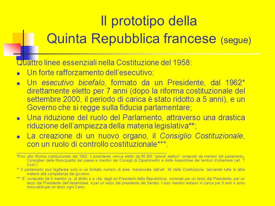Il prototipo della Quinta Repubblica francese (segue) Quattro linee essenziali nella Costituzione del 1958: Un forte rafforzamento dellesecutivo; Un e