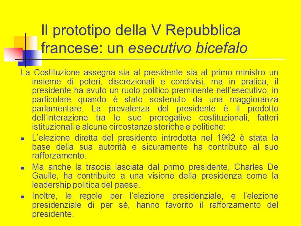 Il prototipo della V Repubblica francese: un esecutivo bicefalo La Costituzione assegna sia al presidente sia al primo ministro un insieme di poteri,