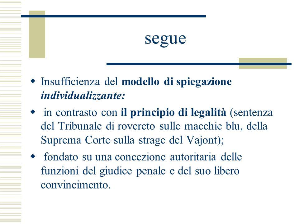 segue Insufficienza del modello di spiegazione individualizzante: in contrasto con il principio di legalità (sentenza del Tribunale di rovereto sulle