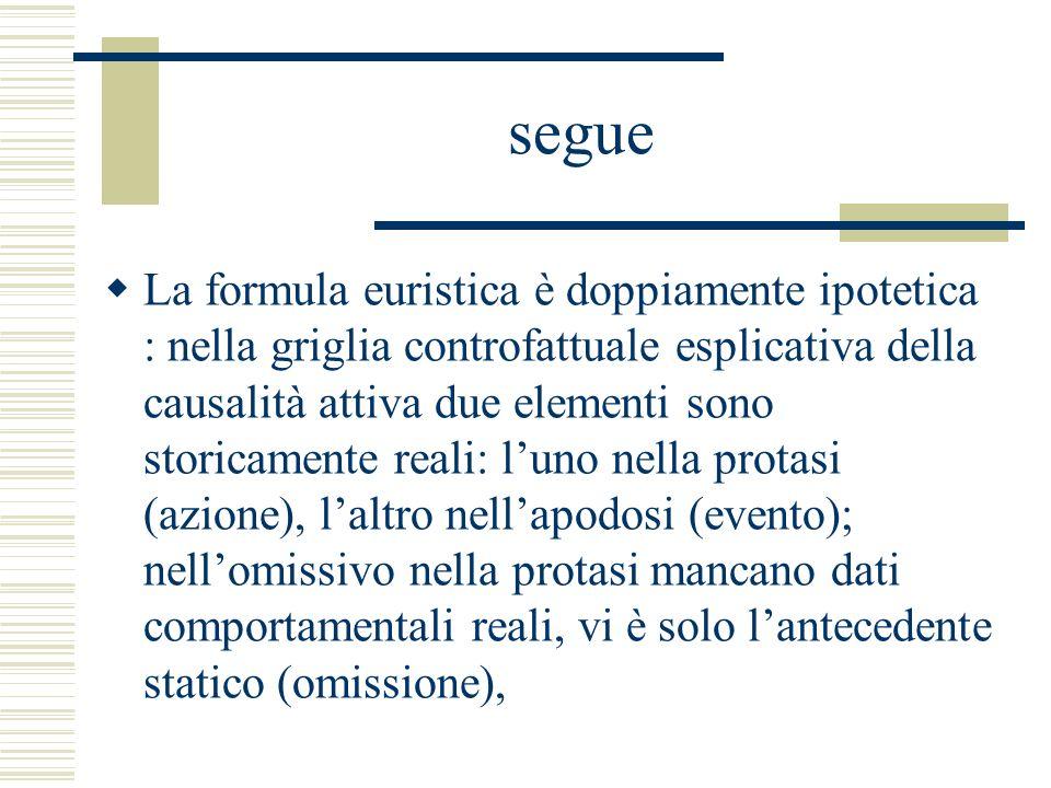 segue La formula euristica è doppiamente ipotetica : nella griglia controfattuale esplicativa della causalità attiva due elementi sono storicamente re