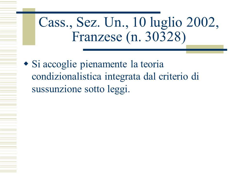 Cass., Sez. Un., 10 luglio 2002, Franzese (n. 30328) Si accoglie pienamente la teoria condizionalistica integrata dal criterio di sussunzione sotto le