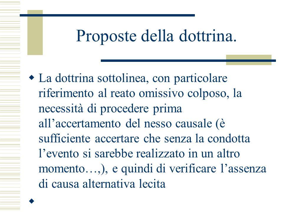 Proposte della dottrina. La dottrina sottolinea, con particolare riferimento al reato omissivo colposo, la necessità di procedere prima allaccertament