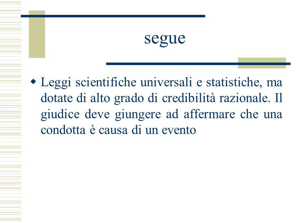 segue Leggi scientifiche universali e statistiche, ma dotate di alto grado di credibilità razionale. Il giudice deve giungere ad affermare che una con