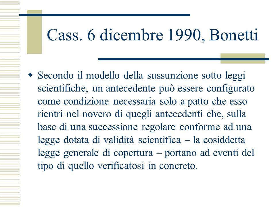 Cass. 6 dicembre 1990, Bonetti Secondo il modello della sussunzione sotto leggi scientifiche, un antecedente può essere configurato come condizione ne