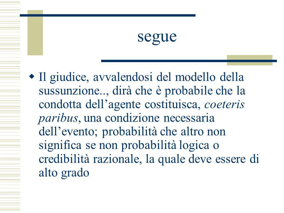 segue Il giudice, avvalendosi del modello della sussunzione.., dirà che è probabile che la condotta dellagente costituisca, coeteris paribus, una cond