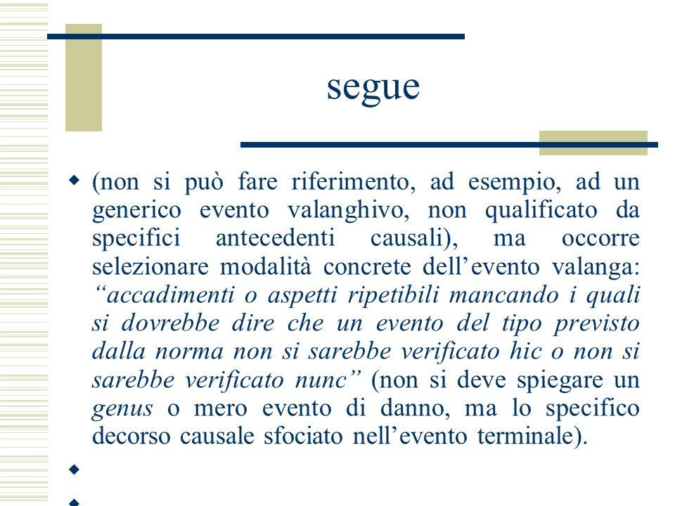 segue (non si può fare riferimento, ad esempio, ad un generico evento valanghivo, non qualificato da specifici antecedenti causali), ma occorre selezi