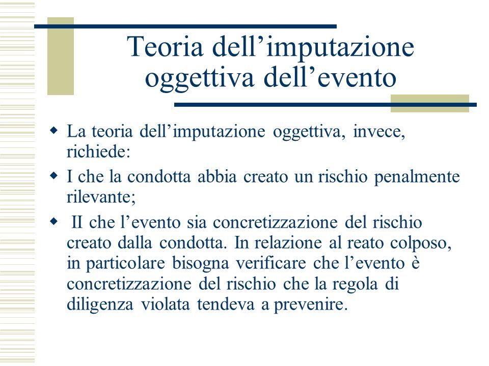 Teoria dellimputazione oggettiva dellevento La teoria dellimputazione oggettiva, invece, richiede: I che la condotta abbia creato un rischio penalment