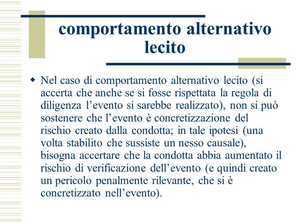 comportamento alternativo lecito Nel caso di comportamento alternativo lecito (si accerta che anche se si fosse rispettata la regola di diligenza leve