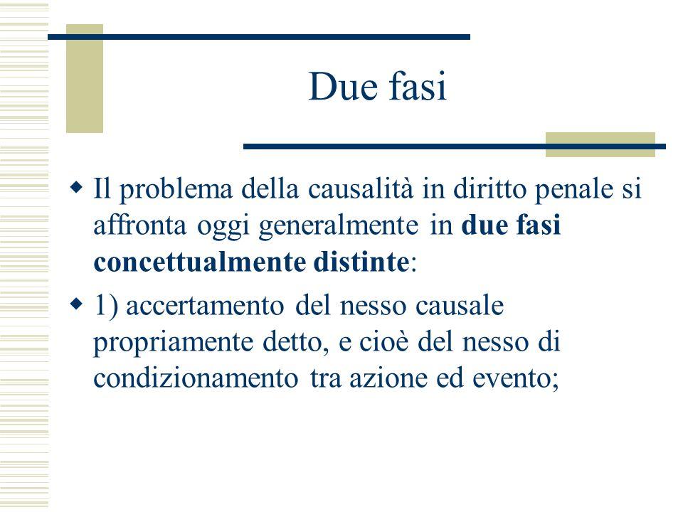 Due fasi Il problema della causalità in diritto penale si affronta oggi generalmente in due fasi concettualmente distinte: 1) accertamento del nesso c