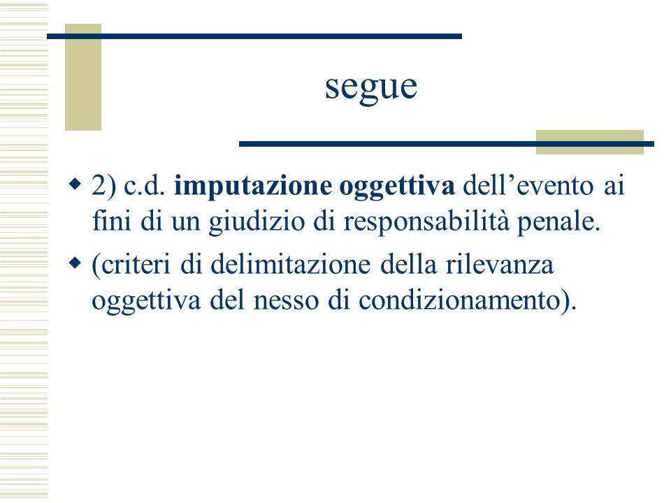 segue 2) c.d. imputazione oggettiva dellevento ai fini di un giudizio di responsabilità penale. (criteri di delimitazione della rilevanza oggettiva de