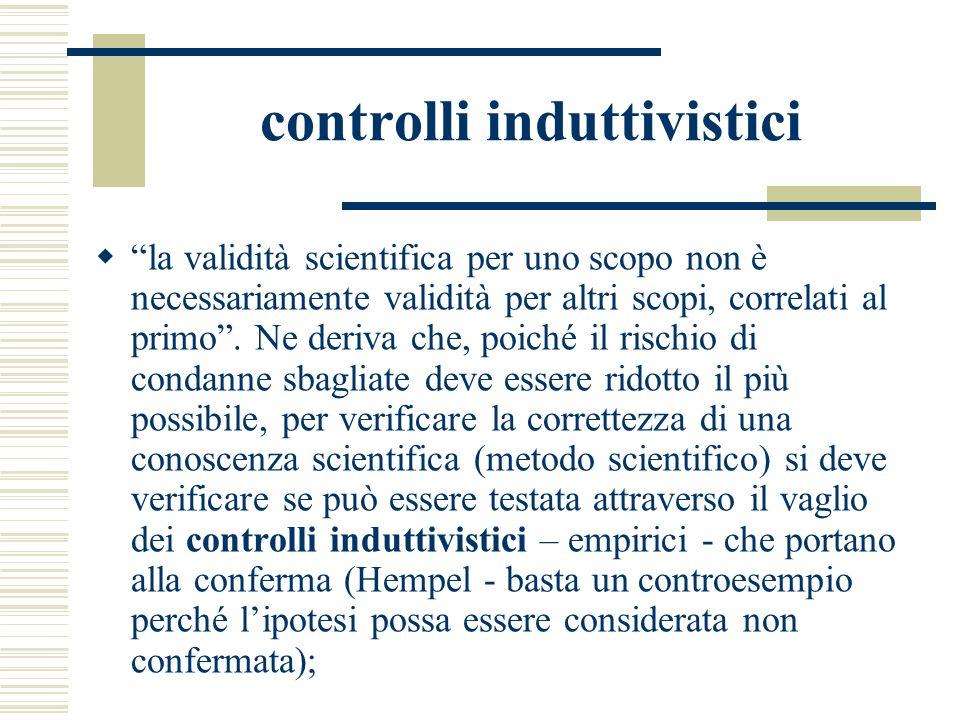 controlli induttivistici la validità scientifica per uno scopo non è necessariamente validità per altri scopi, correlati al primo. Ne deriva che, poic